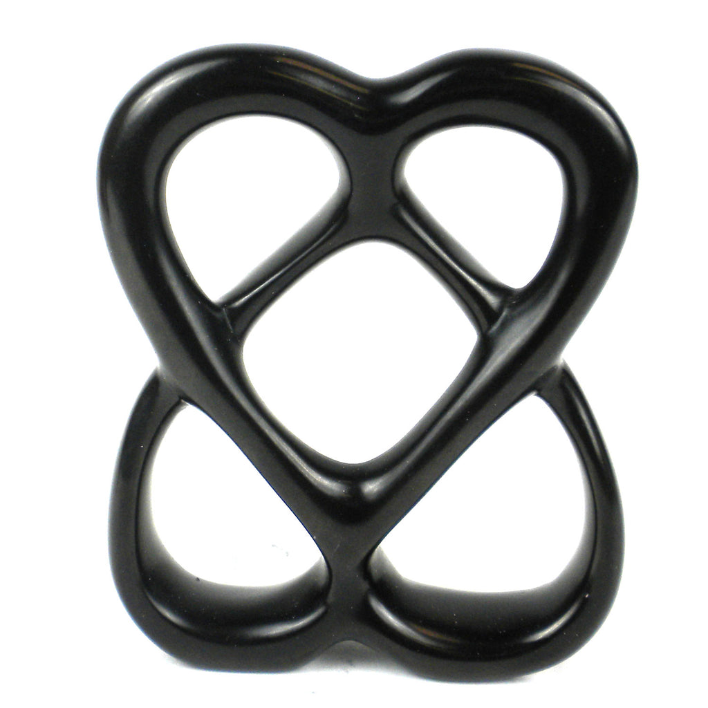 Double Heart 4 inch Black