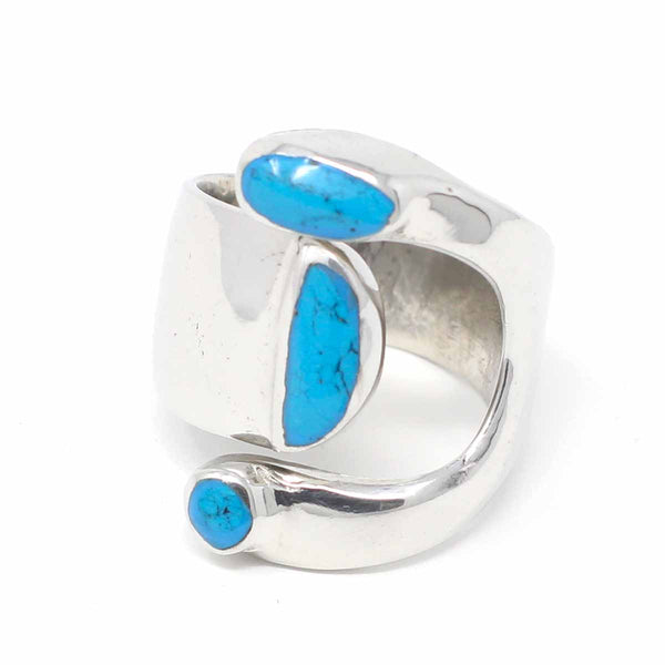 Alpaca Silver Wrap Ring, Turquoise - Size 8