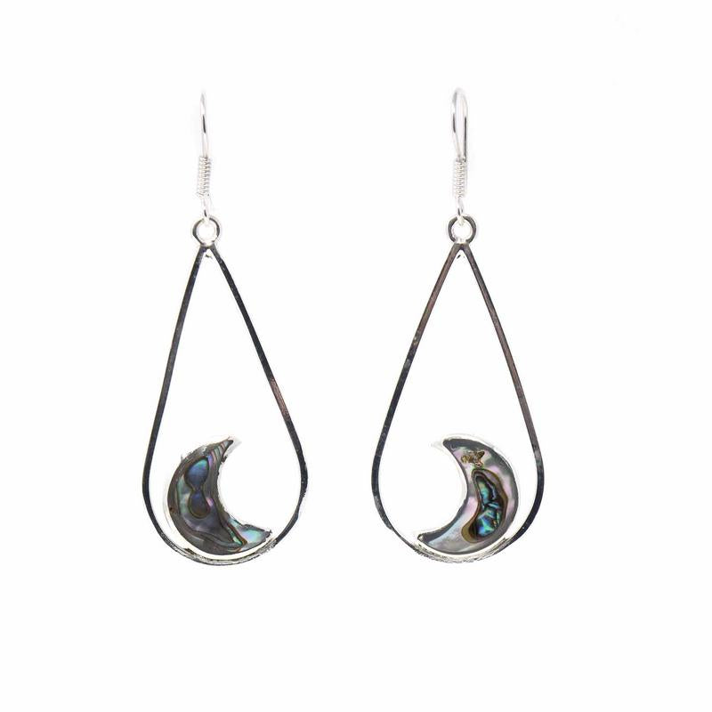 Earrings, Teardrop with Abalone Half Moons