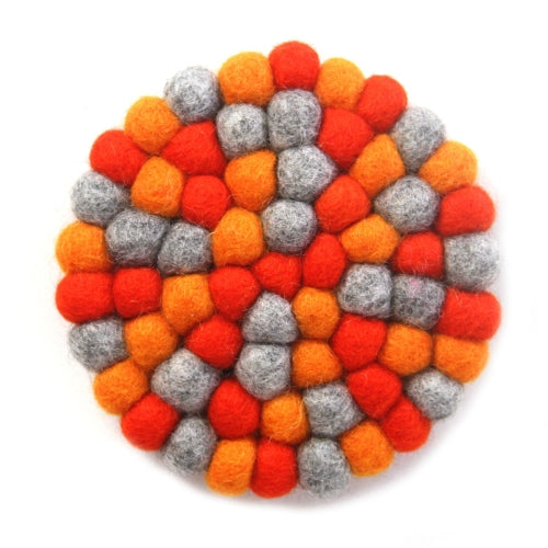 Hand Crafted Felt Ball Trivets from Nepal: Round Chakra, Oranges - Global Groove (T)