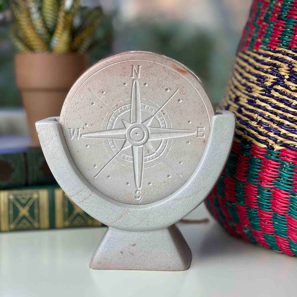 Compass Soapstone Sculpture, Light Gray Stone