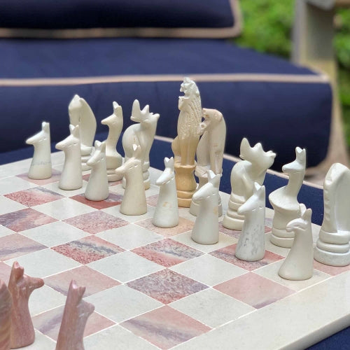 "Hand Carved Soapstone Animal Chess Set - 15"" Board - Smolart"