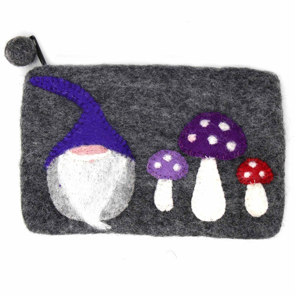 Hand Crafted Felt: Gnome and Mushroom Pouch