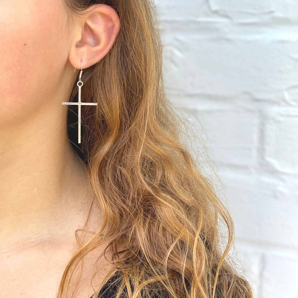 Sterling Silver Cross Drop Earrings