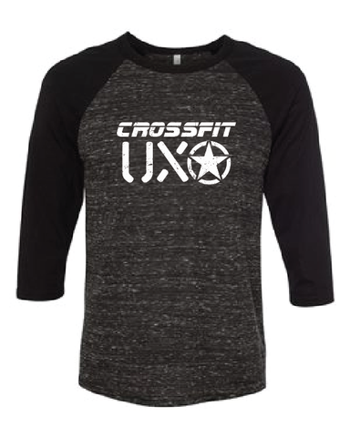 CROSSFIT UXO - Unisex Three-Quarter Sleeve Baseball T-Shirt with UXO Design - Available in: Grey/Emerald Triblend and Black Marble/Black