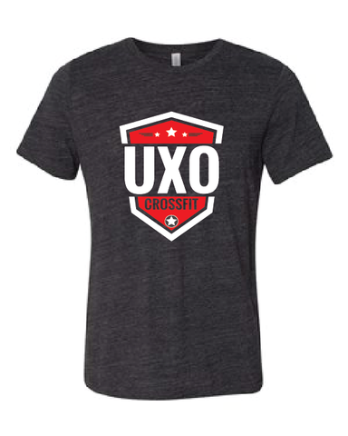 CROSSFIT UXO - Unisex Cotton/Polyester Tee with Shield Design - Available in: Charcoal Black Slub and Navy