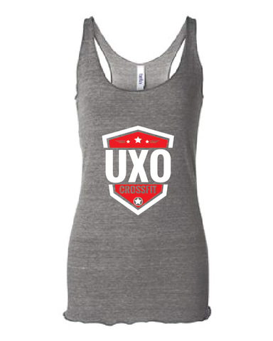 CROSSFIT UXO - Women's Triblend Racerback Tank with Shield Design - Available in: Grey Triblend and Charcoal Black Triblend