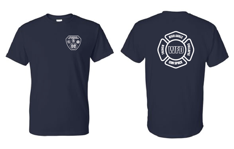 WFD - T-shirt w/ High Angle Design - Navy Blue - 50/50% COTTON