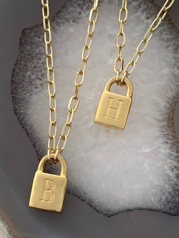 1 Secret Identity Initial Lock Necklace