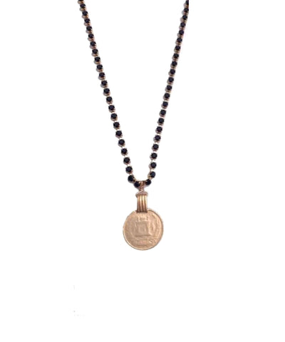 Gatsby Coin Necklace in Black