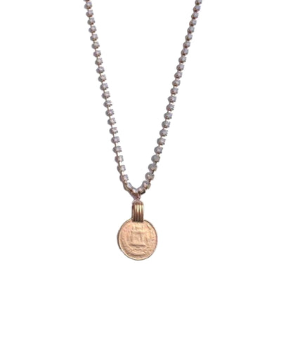 Gatsby Coin Necklace in White Opal