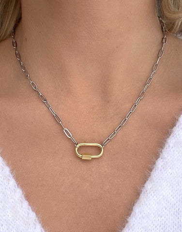 Clingy Carabiner Necklace- Mixed Metals