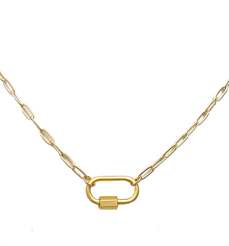 Clingy Carabiner Necklace- Gold