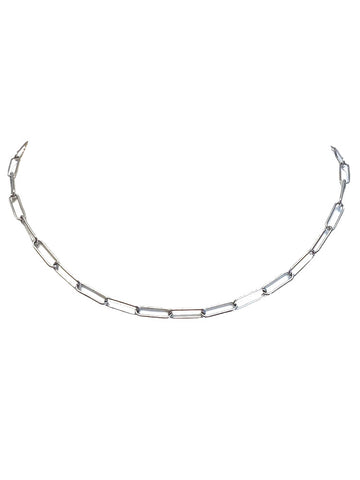 Eden Silver Paperclip Chain Necklace
