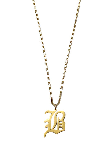 Mi Vida GOLD Old English Gothic Initial Necklace
