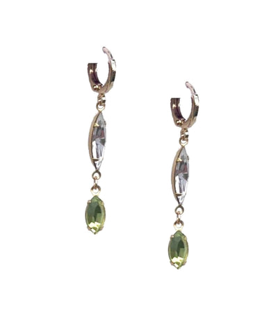 Gem Huggie Earrings in Light Green and Clear