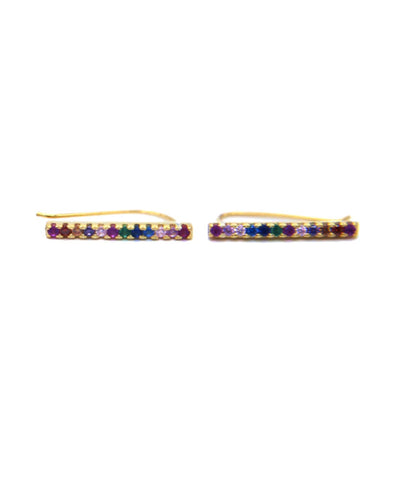 1 Pair Rainbow Ear Crawler Climber Earrings