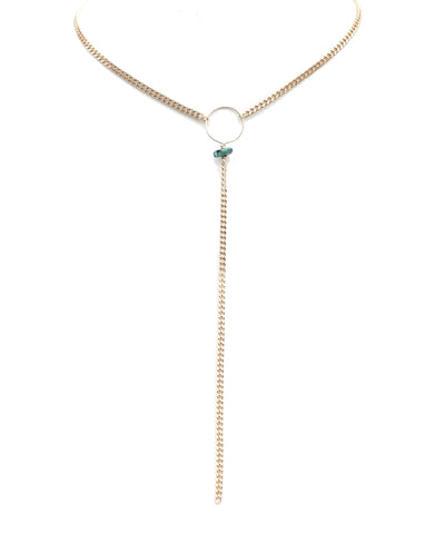 Gold Circle Lariat necklace