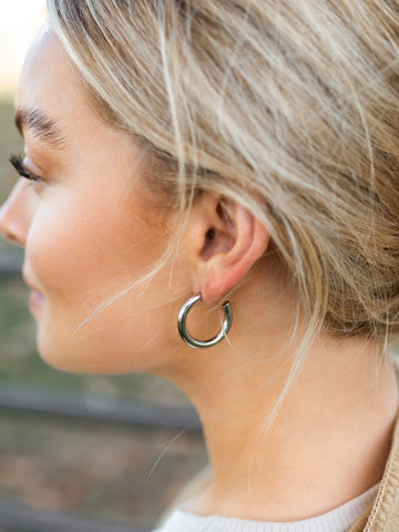 Chunky Medium Silver Hoop Earrings