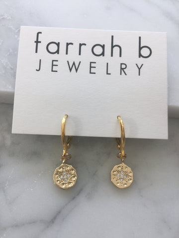 Circle Coin Star Huggie Earrings