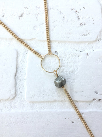 Gold + Pyrite Lariat necklace