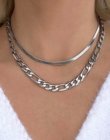 Figaro Silver Statement Link Chain Necklace