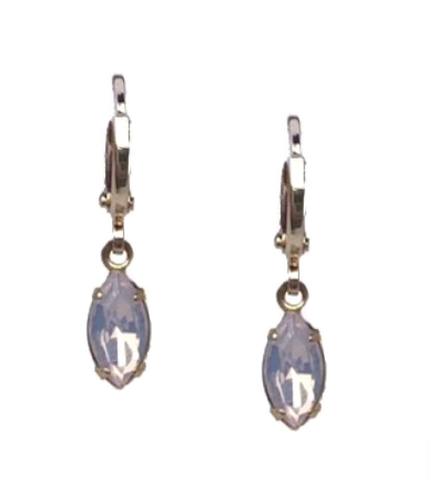 Gem Huggie Light Pink Opal Earrings