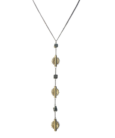 Gold & Pyrite Lariat Necklace
