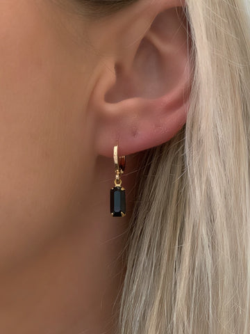 Black Gem Huggie Earrings