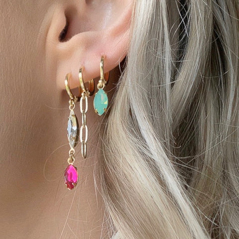 Gem Huggie Earrings in Hot Pink and Clear