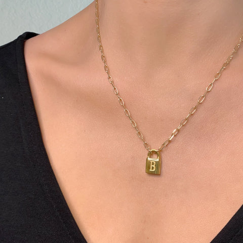 1 Lock Initial Necklace
