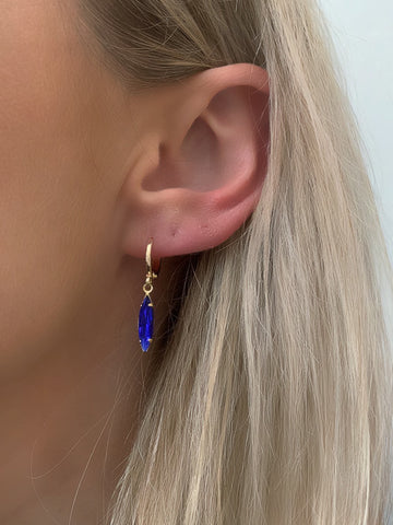 Blue Gem Huggie Earrings