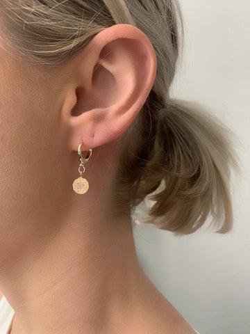Coin Star Huggie Earrings