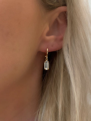 Clear Gem Huggie Earrings