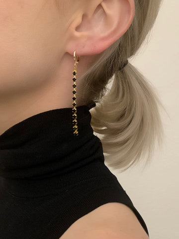 Black Rhinestone Drop Huggie Earrings