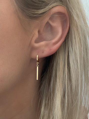 Gold Bar Huggie Earrings
