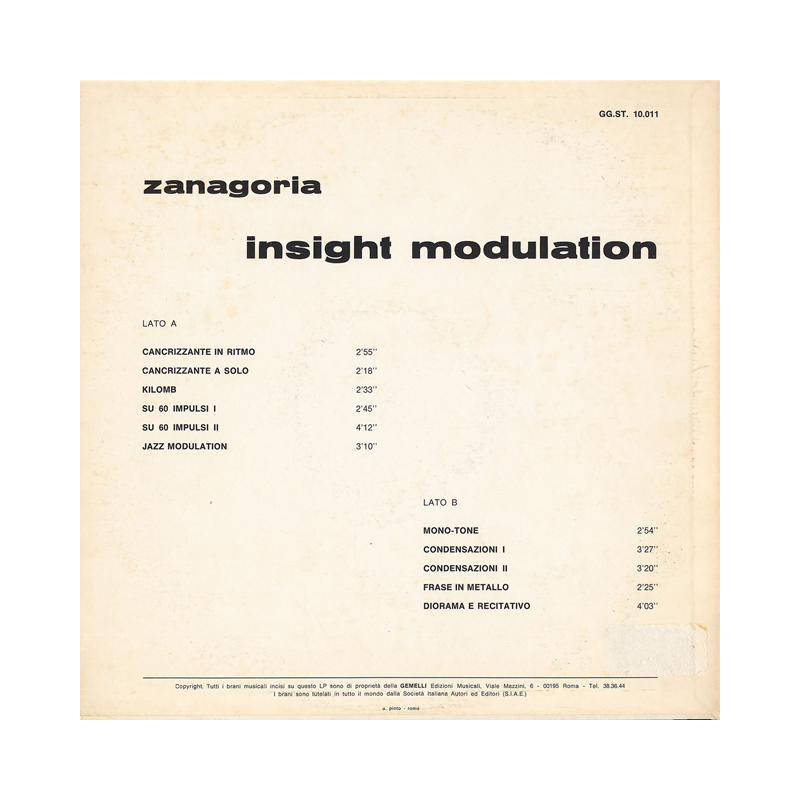 "Zanagoria ""Insight Modulation"" (Italy) CP016 CDr"