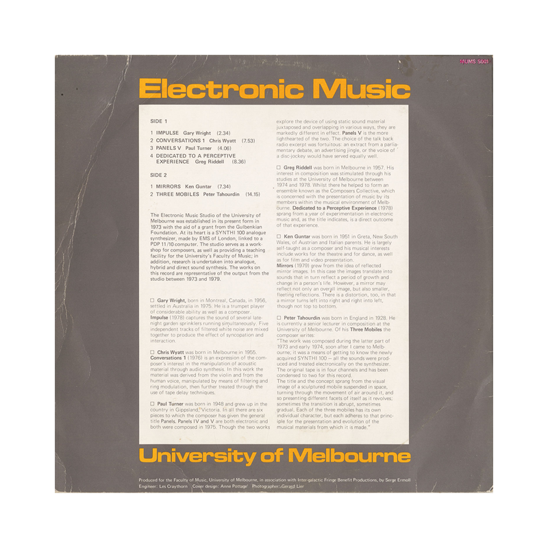 "V/A ""Electronic Music University of Melbourne"" (Australia) CP044 CDr"