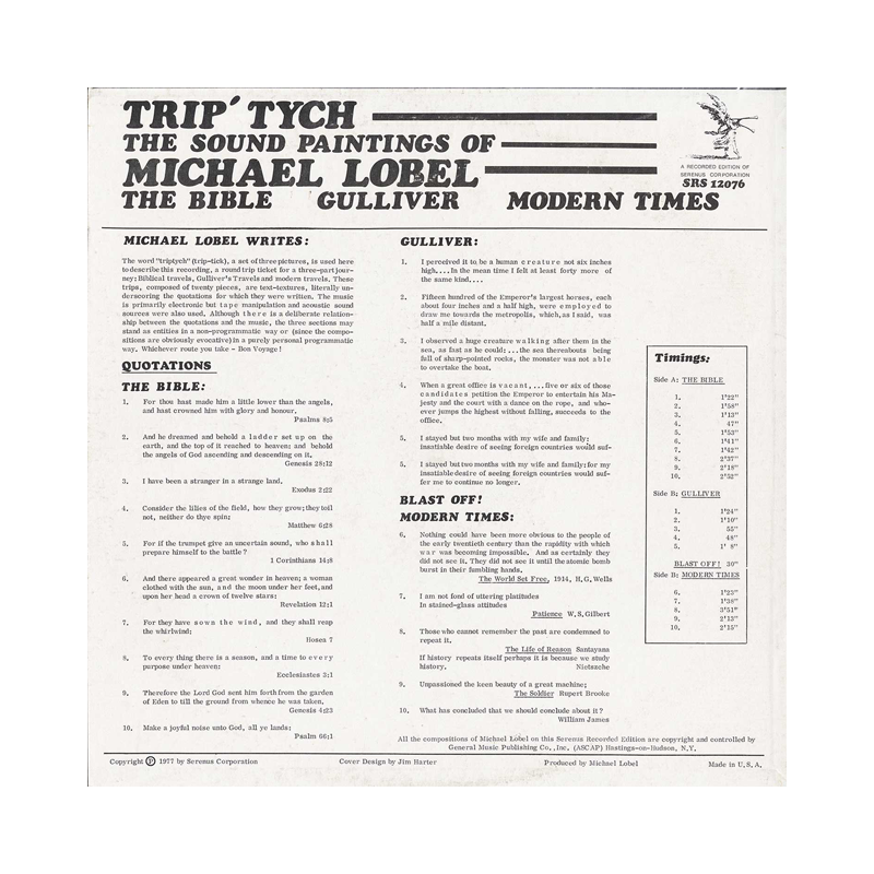 "Michael Lobel ""Trip-Tych, The Sound-Paintings Of Michael Lobel"" (USA) CP117 CDr"