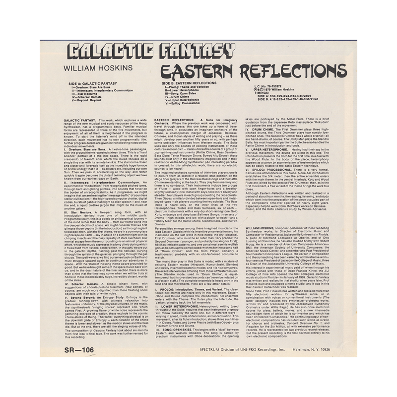 "William Hoskins ""Galactic Fantasy / Eastern Reflections"" (USA) CP158 CDr"