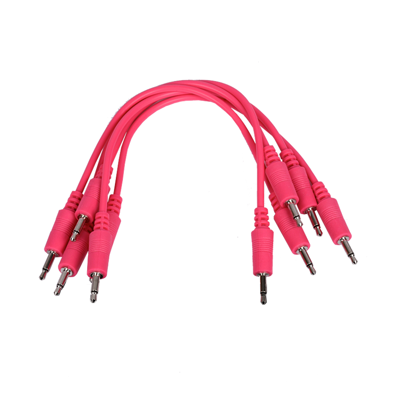 3.5mm Patch Cable, Hot Pink 6-inches 5-Pack