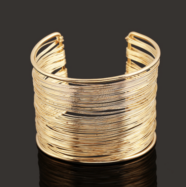 Fancy Gold Bangle - Modern Metallic