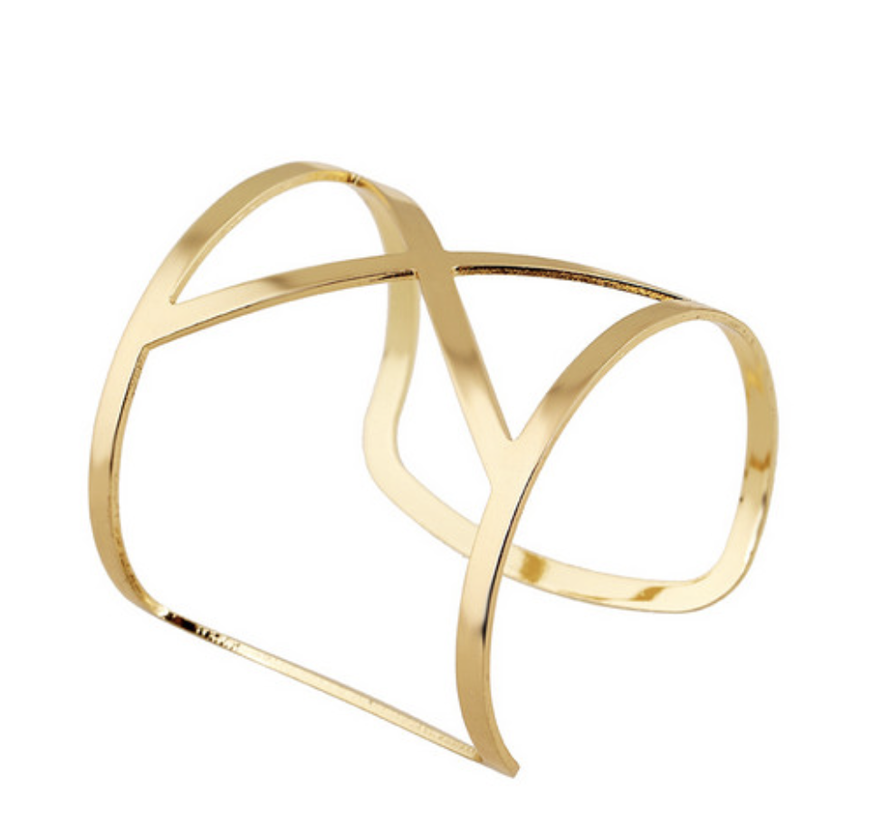 Fancy Gold or Silver Bangle - Rose