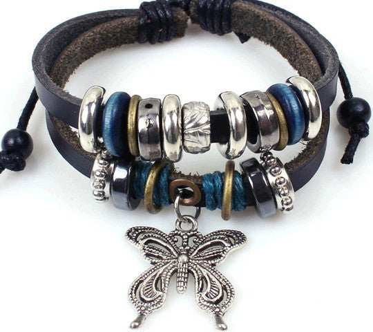 Various Leather Jeweled Unisex Bracelets - Butterfly