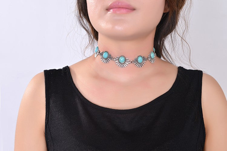Bohemian Choker Silver Necklace Turquoise