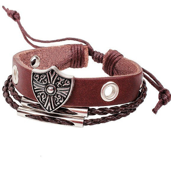 Leather Jeweled Unisex Bracelets - Brown Leather Shield