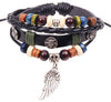 Various Leather Jeweled Unisex Bracelets - Centered Cross