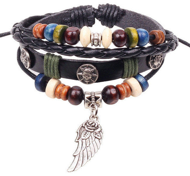Various Leather Jeweled Unisex Bracelets - Black Leather Wing
