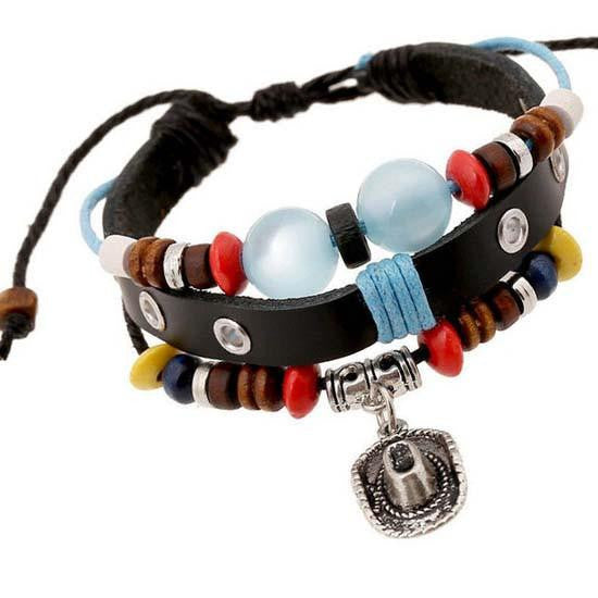 Leather Jeweled Unisex Bracelets - Cowboy