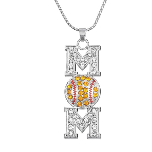 Baseball Mom Necklace - Orange Vertical Basebal lNecklace